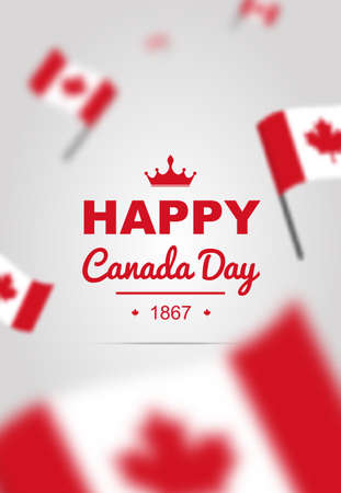 Happy Canada Day poster with flag. Bright vector for 1st of July.