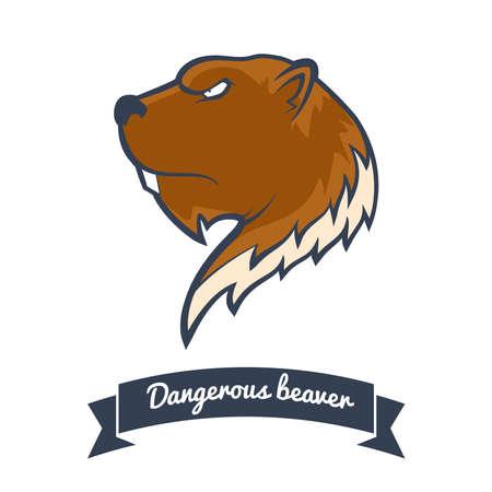 ビーバーのロゴ。  イラスト・ベクター素材