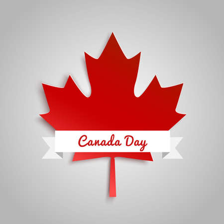 red leaves: Vector modern stylish illustration. Vector banner for the Internet to the Canada Day with red leaves. Illustration