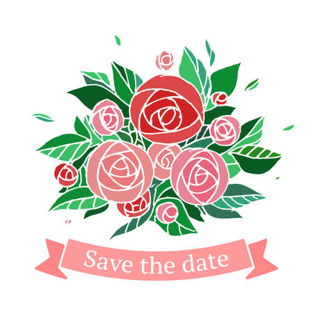 red rose bouquet: Save the date card with colorful flowers. Vector illustration.