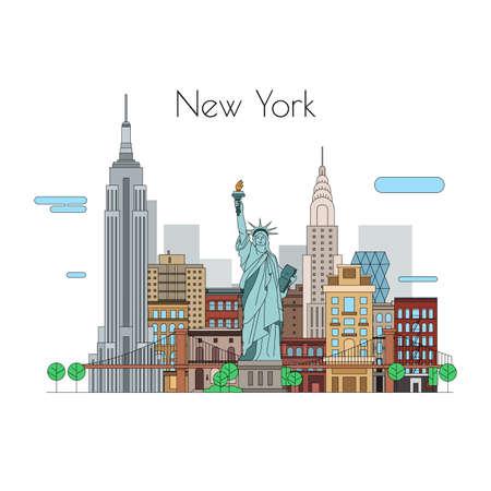 벡터 도시입니다. 삽화는 여행. 뉴욕 선형 아이콘 일러스트
