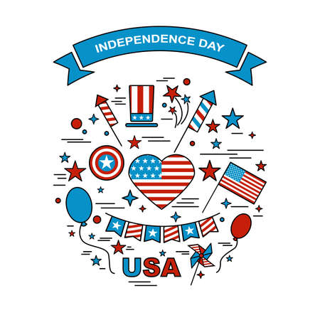 A set of design elements for Independence Day. Vector icons for 4ht of July. Festive set to work. A symbol of freedom and independence. Set of American flag, fireworks, ribbons, windmills and hat.