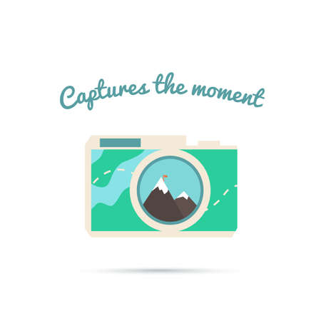 photo corner: Capture the moment! Illustration of the camera is around the corner. Travel Map. Vector camera photo