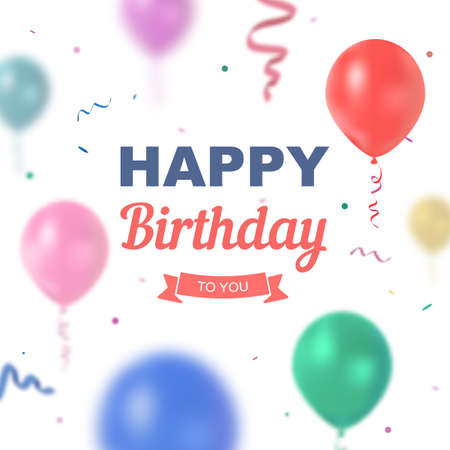 green day baby blue background: Vector birthday card with balloons. Bright illustration with text happy birthday to you for the children