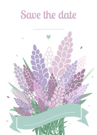 light colors: Light colors wedding invitation card. Vector invitation with lavender.