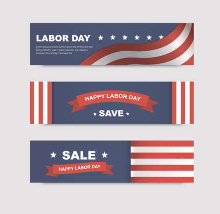 patriotic background: Set of banners with flags for the Labor Day in America. Vector illustrations with text discounts Illustration