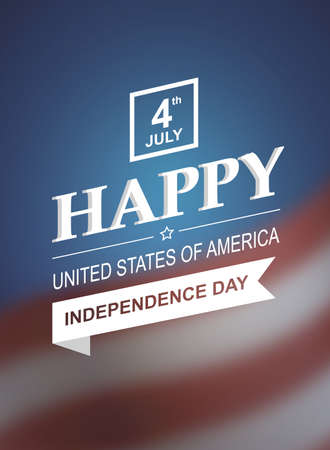 parades: Retro printing card for Independence Day of America. Vector illustration 10. Holiday of 4th of July. Retro styled symbol of freedom and independence with text and blurred background.