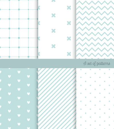 retro patterns: Vector seamless retro mint patterns set