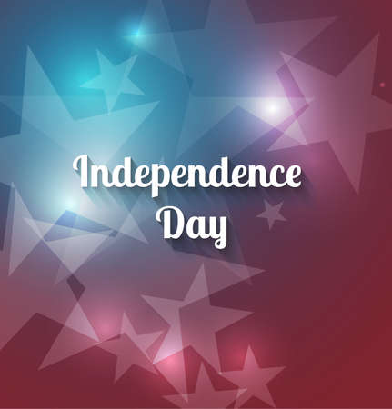 Independence Day holiday concept with a shining star on a red and blue background. Vector festive background for 4th of July. The symbol of freedom and independence.