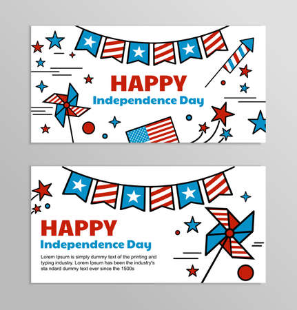 ecoration: Set of bright web banners for celebrating of the 4th of July. Illustrations and symbols of America - red and blue flag with stars.