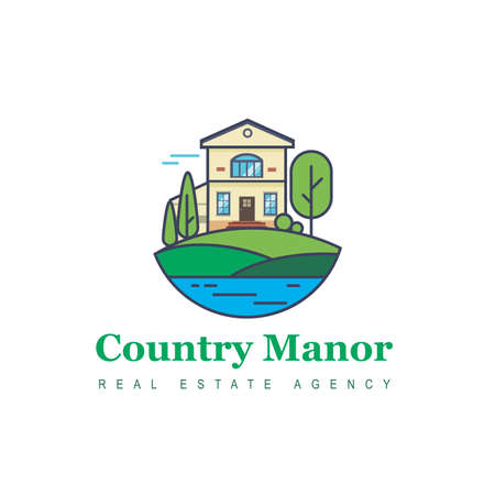bulding: Vector logo of the elite real estate at the coast. The symbol of luxury, space for a beautiful life. Illustrations house by the sea. Business real estate.