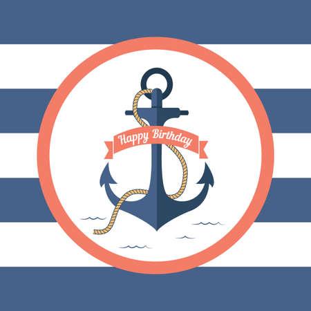 ancla: Tarjeta de marina con un ancla y una firma en el cumplea�os Vectores