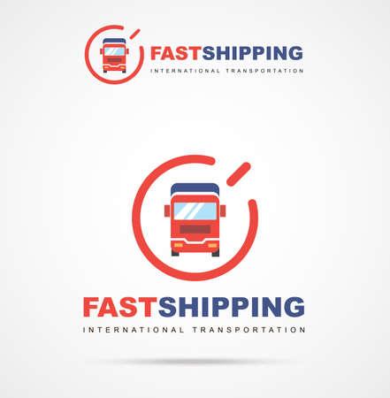 Vector logo of fast delivery van in two colors. International transportation. Illustrations cargo van