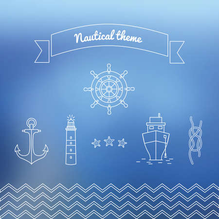 marine ship: Graphics on the marine theme. Vector illustrations on sea theme. Linear icons with the ocean in the vector with steering, lighthouse, ship, and a rope with a marine unit.