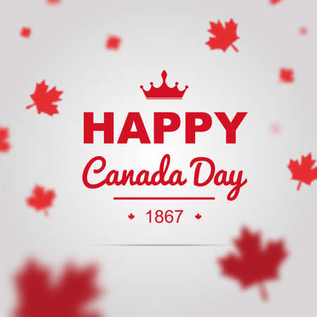 canadian flag: Happy Canada Day poster. 1st of July vector with 3D effect.