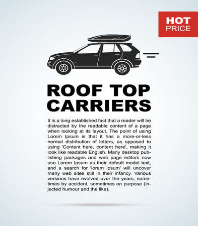 new car lot: Vector flyer with the car and roof rack. The leaflet with the text for cars sellers.