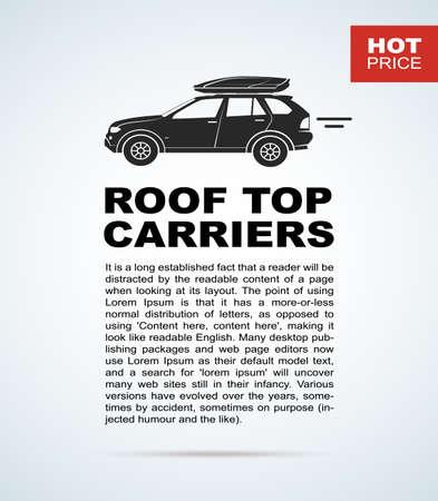 car showroom: Vector volante con el coche y baca. El folleto con el texto para coches vendidos.