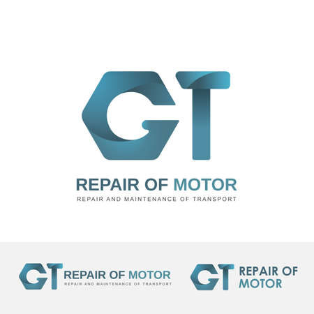 car repair shop: Vector logo for car repair shop. The symbol of a wrench and a hammer for engine repair service. Illustrations logo in blue colors.