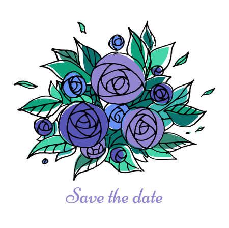 anniversario matrimonio: Invito a nozze vintage con fiori colorati. Illustrazione vettoriale. Vettoriali