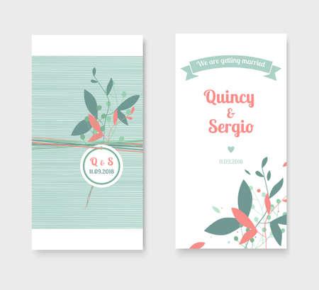 Hochzeitseinladungskarten mit Blumenelementen.