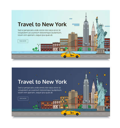 A set of banners for the Internet by the landscape of the city. Vector illustration with urban landscape of New York Illustration