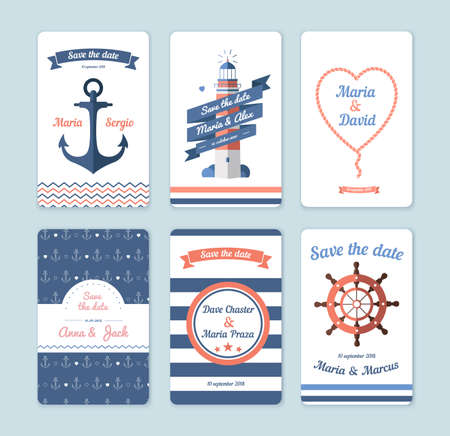 marriages: Wedding invitation card. Save the date, sailor theme. Set invitation