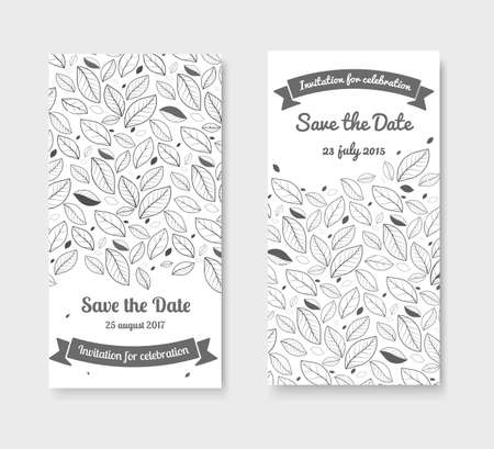 ślub: Czarno-biała karta zaproszenie na ślub. Karta Zapisz datę.