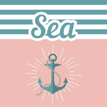 anchored: Illustration with the anchor text and the inscription. Vector anchored on a pink background Illustration