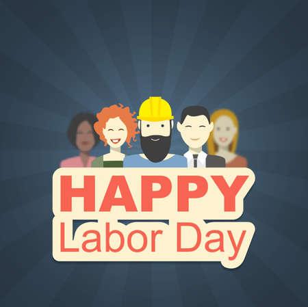 jornada de trabajo: Ilustración vectorial de un día de trabajo en Estados Unidos. Postal con los trabajadores. Fondo oscuro con los rayos Vectores