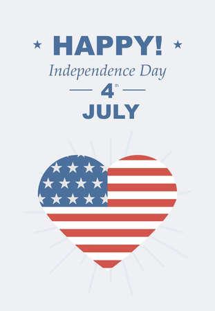 julio: Fiesta del día de la independencia americana. Tarjeta retro con felicitaciones. Ilustraciones del vector, amor al país. EE.UU. Vectores