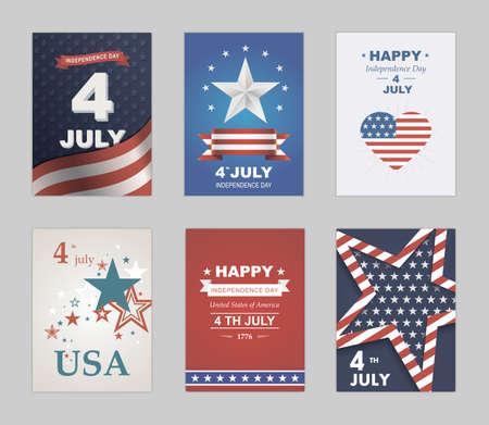 독립 기념일에 밝은 벡터. 미국에서 기념일 제 4 회 축하. 미국. 별, 파란색과 빨간색 배경의 상징 잔치. 타이포그래피 포스터와 아름다운 그림 일러스트