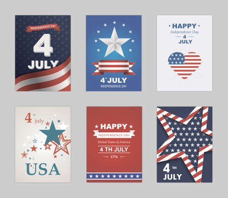 Bright vector to the Independence Day. July 4 th Celebration in America. United States of America. Symbol feast of stars, blue and red background. Beautiful illustrations with typography poster Ilustracja