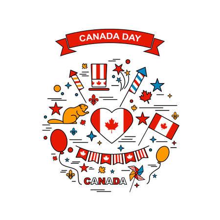 Happy Canada Day elements set Illusztráció