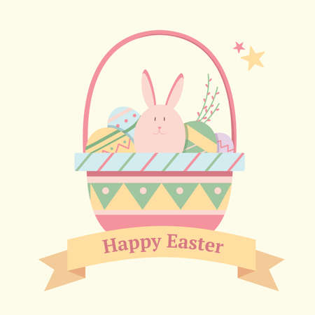 egg: Festive card for Easter with a bunny and eggs in a basket