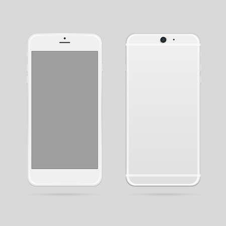 smart phone: Modern white smart phone mockup vector illustration.