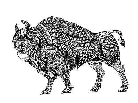 Zentangle 블랙 들소 양식에 일치시키는. 손으로 그린 낙서 벡터 일러스트 레이 션. 문신 또는 makhenda에 대한 스케치합니다. 동물 컬렉션.