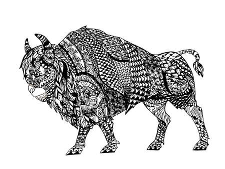 Zentangle stylized Black Bison. Hand Drawn doodle vector illustration. Sketch for tattoo or makhenda. Animal collection.