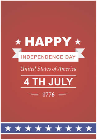 julio: July 4th Celebration in America. United States of America. Symbol feast of stars, blue and red background. Beautiful illustrations with typography poster Vectores