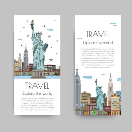 statue of liberty: A set of banners for the Internet by the landscape of the city. Vector illustrations with urban landscape of New York Illustration