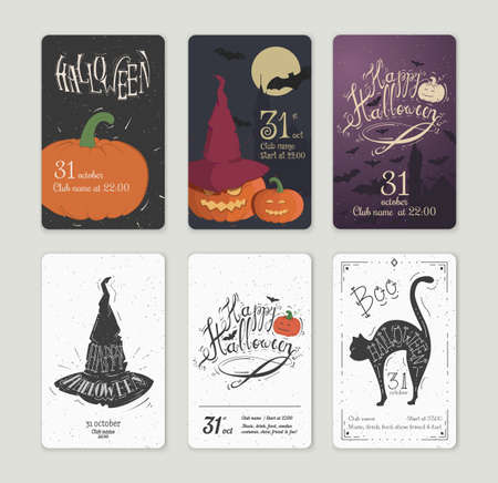 cartoon halloween: Set of vector posters Halloween. Card with pumpkin and the cut-bats. Illustrations on the theme of the festival, invitations. Illustration