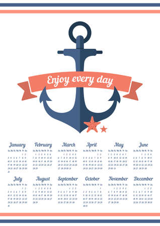 every day: Calendar for 2016 with ribbon and anchor. Enjoy every day