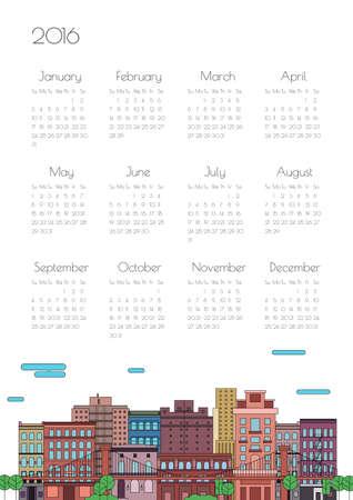 calendario julio: Calendario 2016 con la ciudad en un estilo lineal
