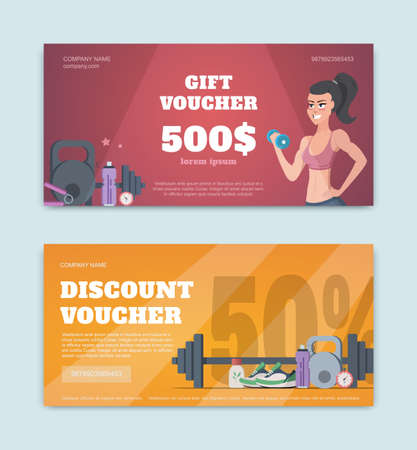 A gift voucher for a fitness club. Certificate offer discounts for sports Illustration