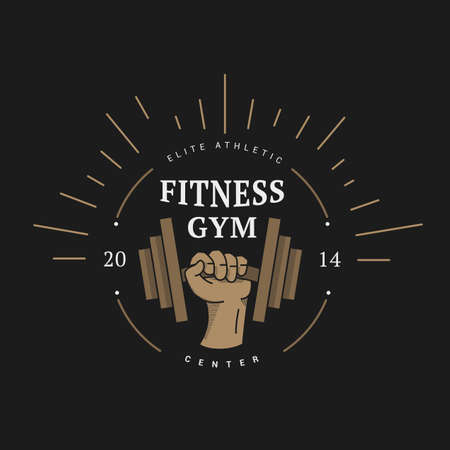 fitness center: Logo vintage style hand with dumbbells. Vector illustration of fitness center Illustration