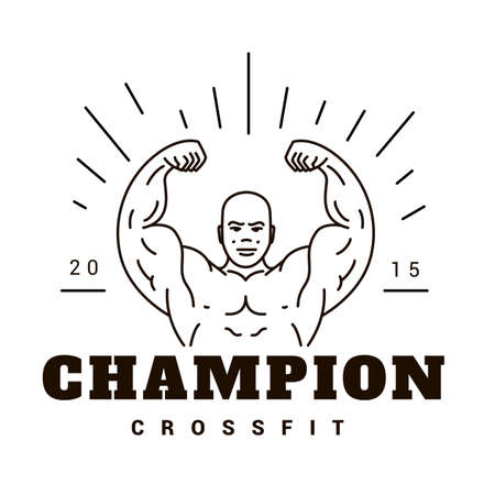 cross bar: Vector logo template for the champion. Athletic strong man