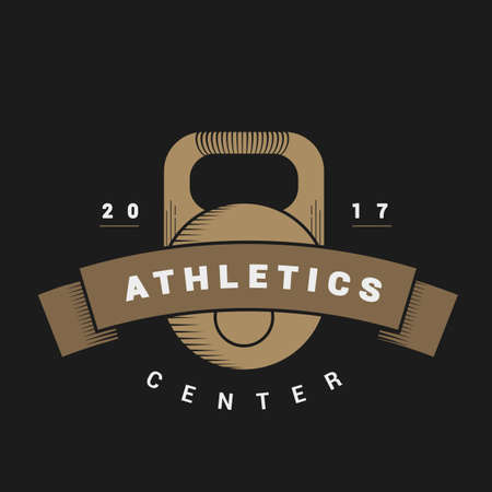 fitness center: Logo with weights for sports center in vintage style. Vector dark background. illustrations weights Illustration