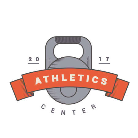 weights: colored badge with weights and tape. Logo for sports club