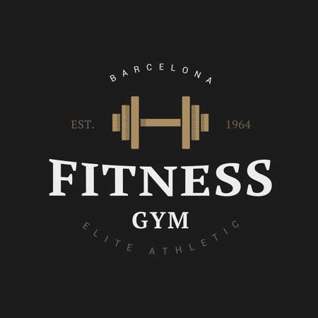 hand with dumbbells: Fitness dumbbell logo in vintage style for sports club Illustration