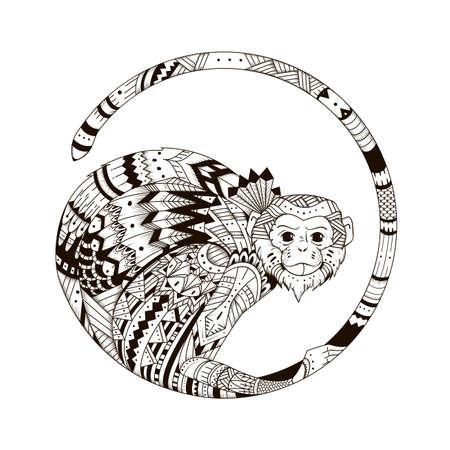 stile: Icona di stile della scimmia zentangl. Grafica illustrazione stile zentangle 2016. Sketch di tatuaggio totem tribale