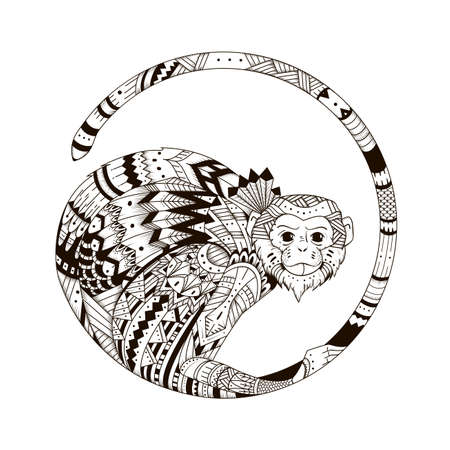 Vector Monkey style zentangl. Graphic illustration style zentangle 2016. Sketch of tattoo totem tribal